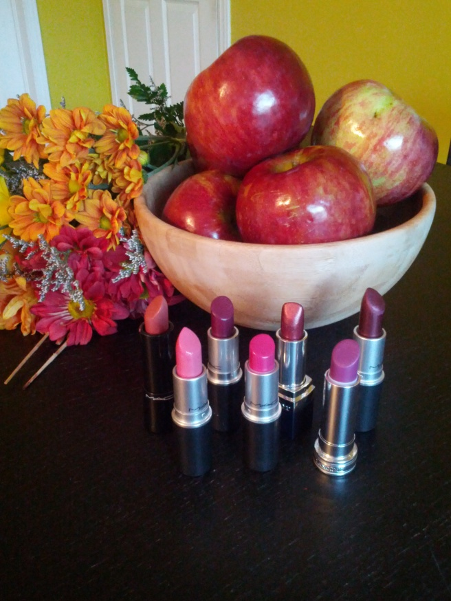 Back row: (L-R) MAC Glamour Era, MAC Rebel, Dior Daisy Plum, MAC Hipster Front row: (L-R) MAC Lovelorn, MAC Girl About Town, Lancôme Rouge in Love (Violette Coquette).